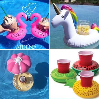 充氣西瓜檸檬菠蘿火烈鳥水上可樂杯座座飲料杯託玩具愛心游泳圈