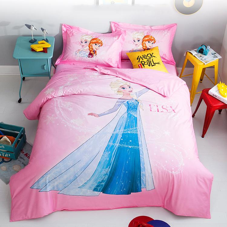 冰雪奇缘3D全棉四件套床品艾纱公主风儿童纯棉被套卡通床单三件套