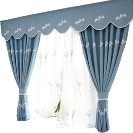 韩式田园遮光窗帘成品现代简约客厅卧室飘窗窗帘卧室少女定制纱帘