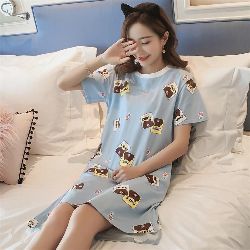 睡裙女夏韩版清新学生公主可爱纯棉短袖可外穿孕妇宽松中长款睡衣