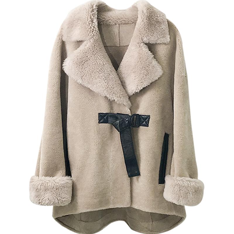 澳洲進口羊剪絨大衣女2019反季短款皮毛一體顆粒羊毛海寧皮草外套