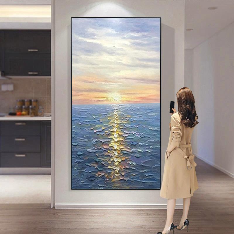 一帆風順玄關手繪油畫立體掛畫盡頭3d輕奢海景日出裝飾畫旭日東升