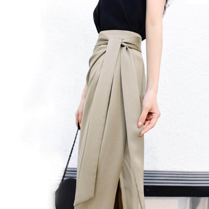 不规则高腰半身裙子中长款春夏季新款OL缎面包臀裙开叉绑带一步裙