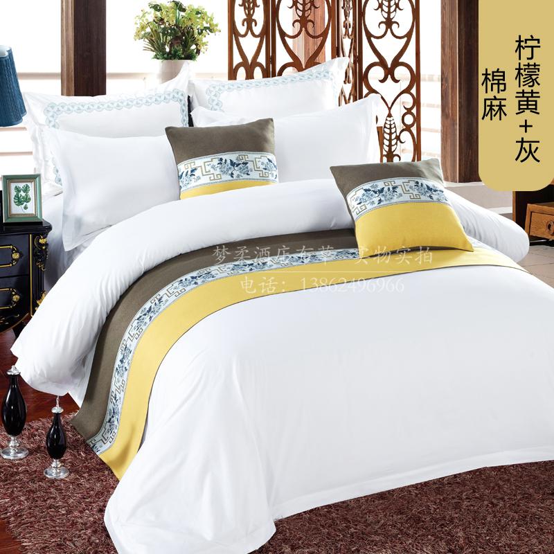 床尾巾酒店宾馆民宿床上用品新中式简约床旗床尾垫床尾旗床盖抱枕