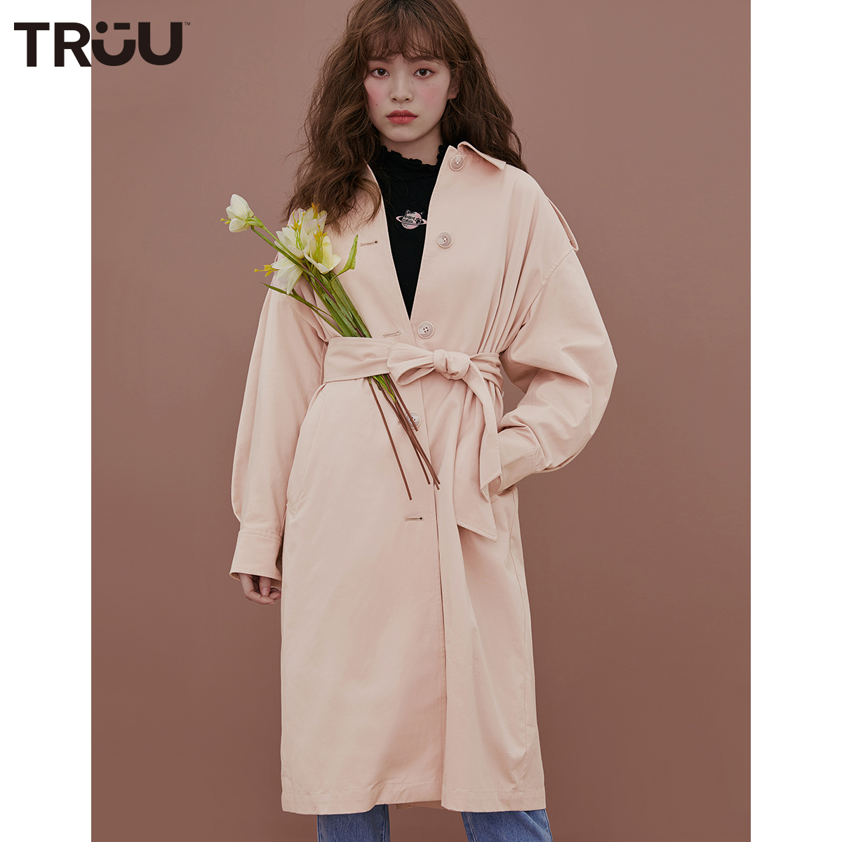 绫致TRUU2020新款气质收腰中长款风衣外套女 T19336501