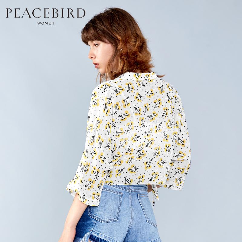 太平鸟女装夏装新款气质复古宽松蝙蝠袖印花上衣女时尚短款衬衫女