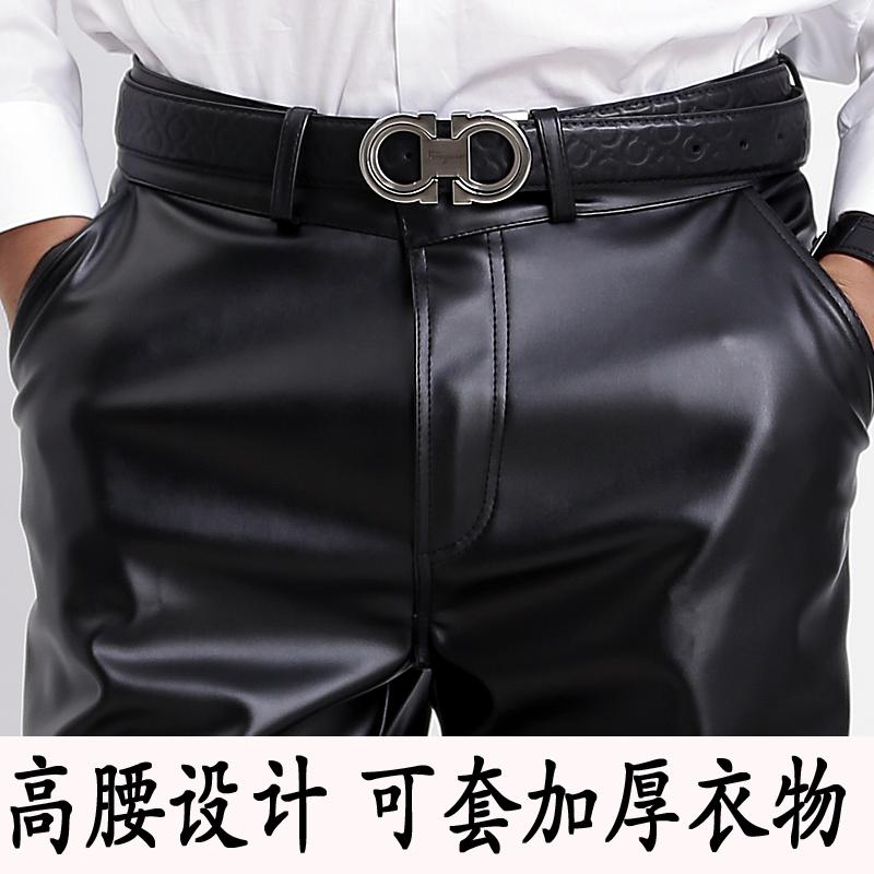 男士皮裤中老年宽松防水皮裤摩托车保暖加厚皮裤子防油工作裤