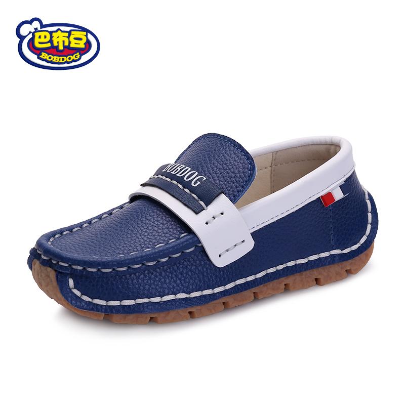 巴布豆童鞋2019秋季男童鞋皮鞋时尚儿童休闲鞋英伦豆豆鞋韩版黑