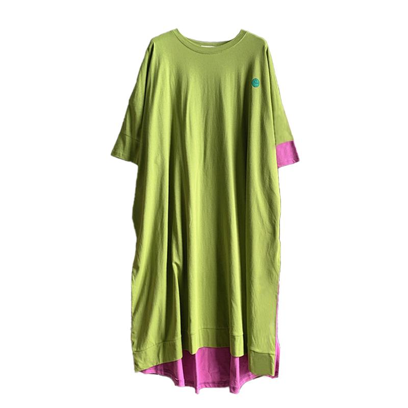 超胖特大码女装韩版宽松T恤长裙胖妹妹300斤遮肚子连衣裙减龄夏装