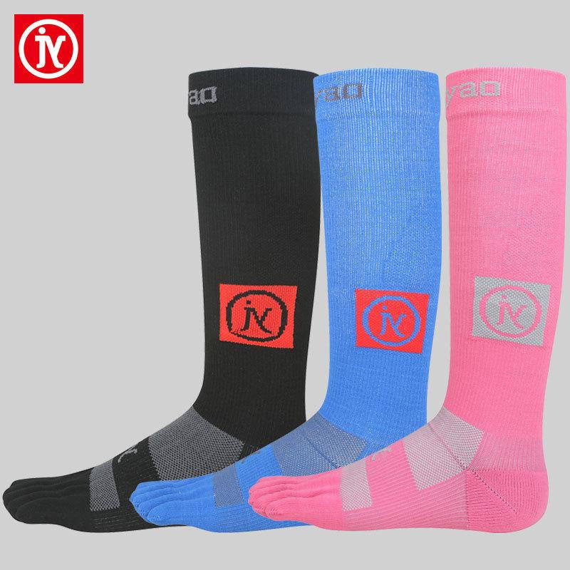 高筒Coolmax速幹五指襪男女跑步長襪子馬拉松運動護小腿壓縮襪