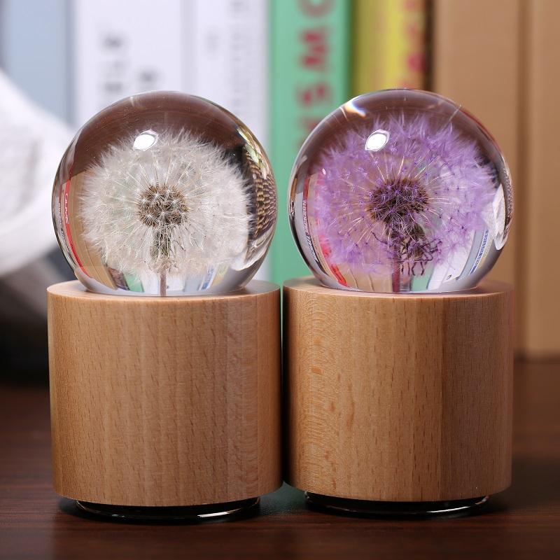 紫色蒲公英標本水晶球音樂盒八音盒老師情人節七夕生日禮物送女生