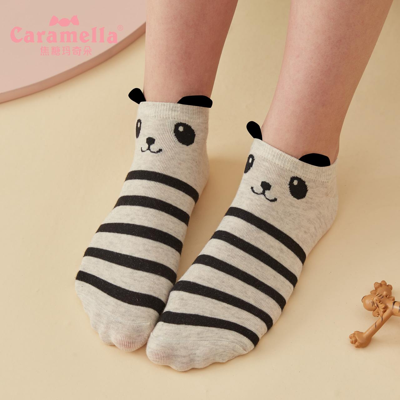 CARAMELLA袜子女ins潮夏天棉薄款短袜浅口可爱卡通透气船袜子