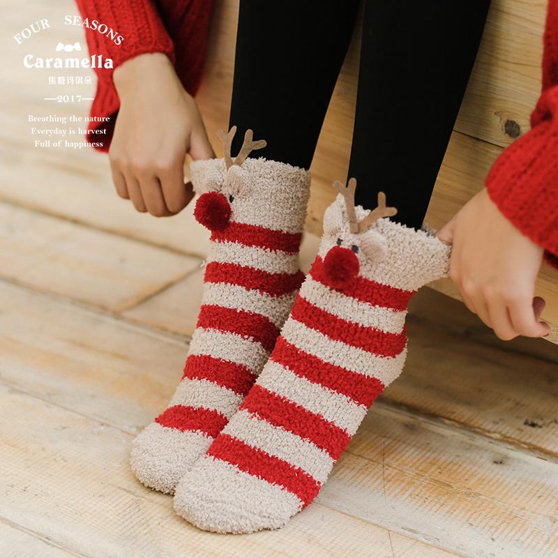 CARAMELLA袜子女地板袜秋冬中长筒睡眠珊瑚绒家居月子毛巾袜ins潮