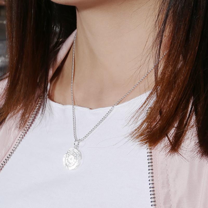 富贵鹿s925银圆珠项链佛珠链裸链男女吊坠个性银珠毛衣链短锁骨链