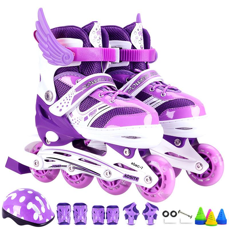 溜冰鞋儿童全套装男女旱冰轮滑鞋可调节直排轮滑冰鞋闪光3-5-6-8-