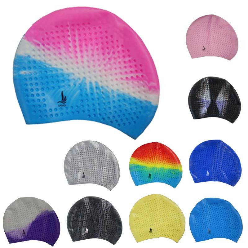 三奇長髮泳帽 男女通用高彈力 舒適矽膠防水游泳帽子成人浴帽