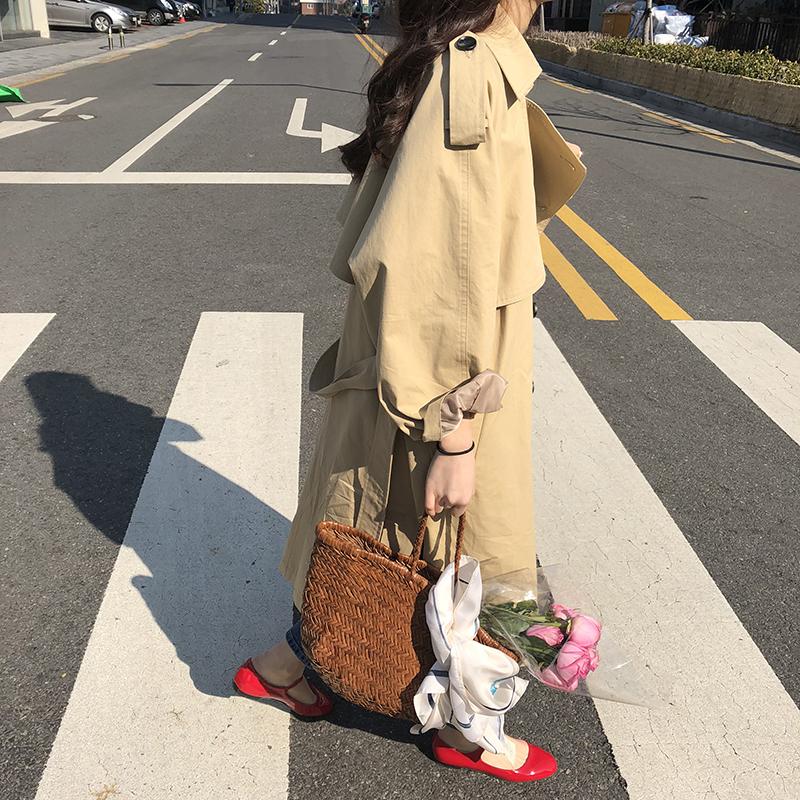 早春款韩版宽松翻领双排扣中长款风衣外套女 ELINASEA  清仓 自制