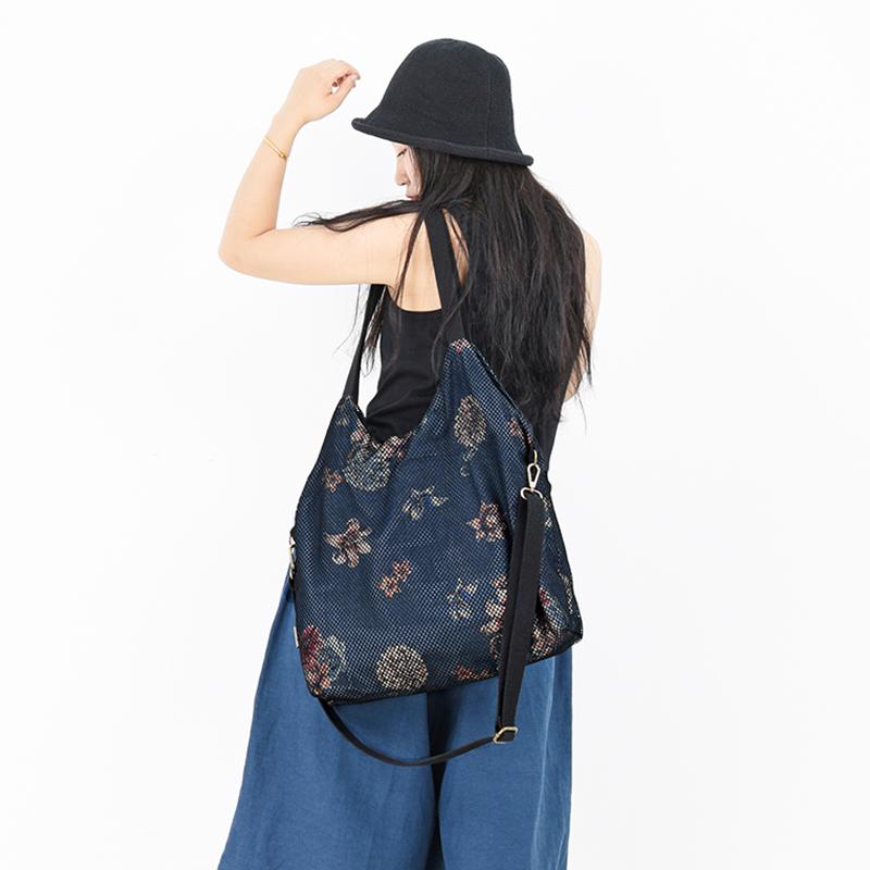 澄心女子包包女新款百搭镂空网牛仔印花大容量休闲单肩斜挎包女