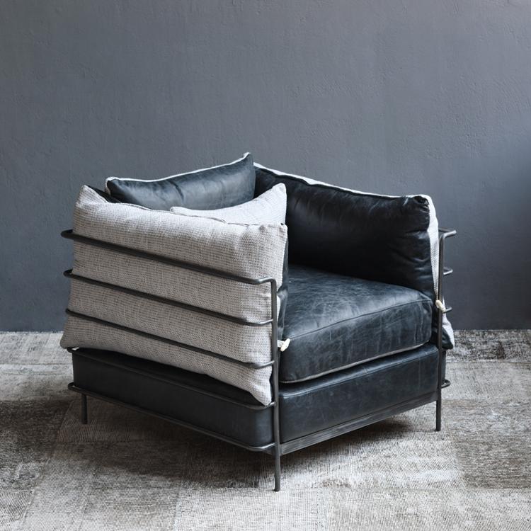 欧式双人铁艺沙发工业风酒吧沙发椅单人个性loft懒人皮艺卡座做旧
