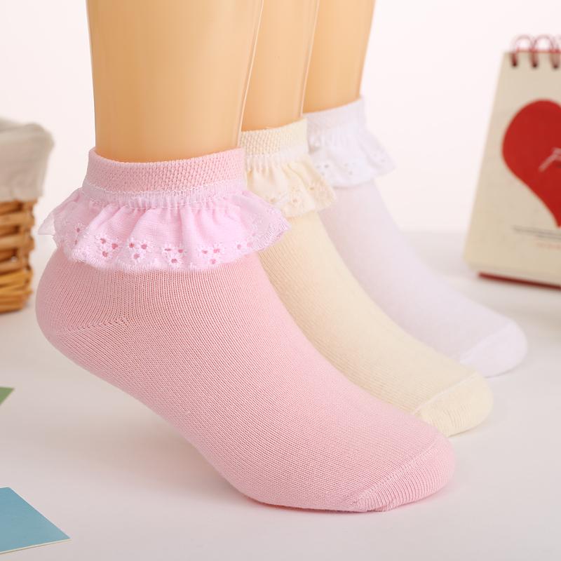 兒童襪子純棉春秋女童短襪花邊襪寶寶白色小學生襪1-3-5-7-9-11歲