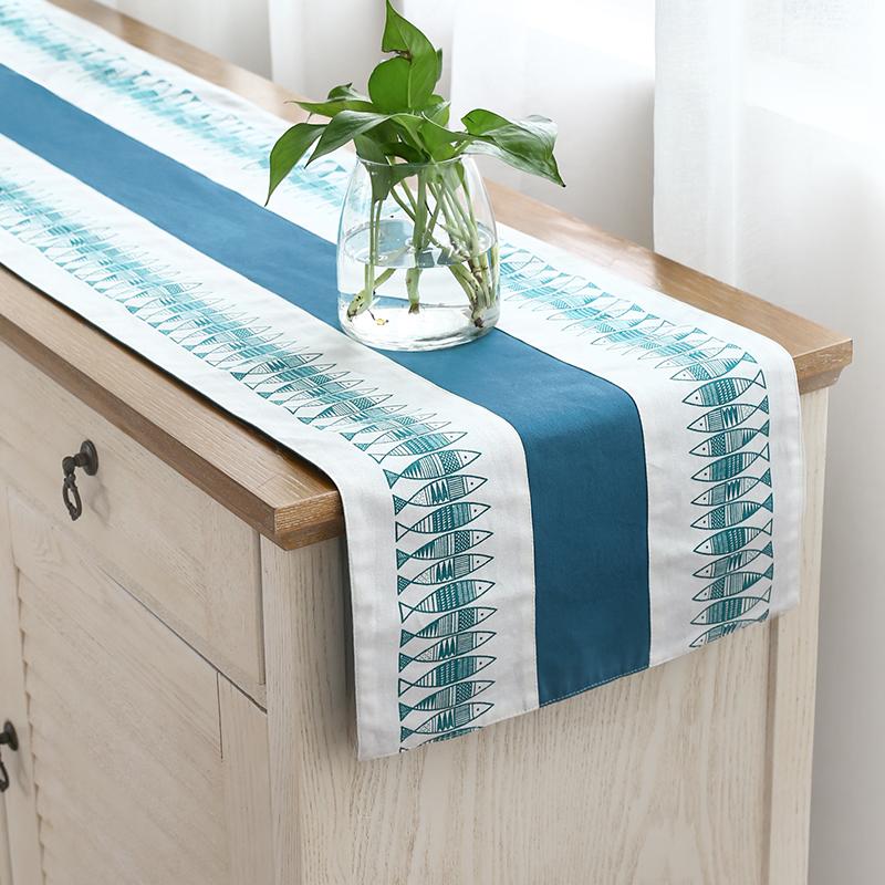 桌旗现代简约美式桌旗北欧茶几装饰布桌旗长方形棉麻日式欧式桌旗