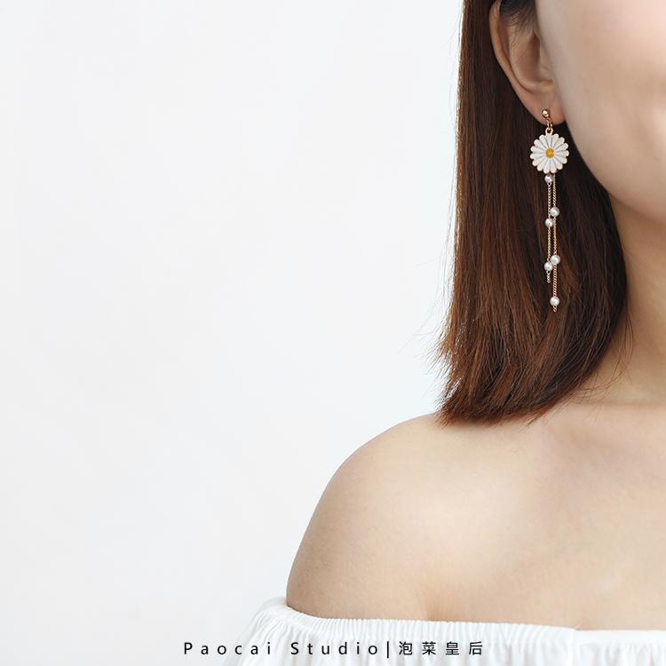 韩国长款花朵耳钉女小清新超仙气质少女可爱耳坠耳饰 遇见小雏菊