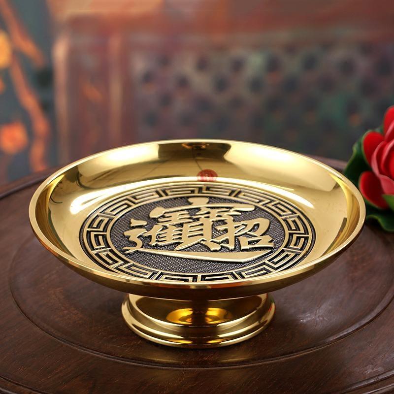 台湾万玉堂纯铜供果盘佛前供盘果盘莲花水果盘观音财神贡果盘包邮