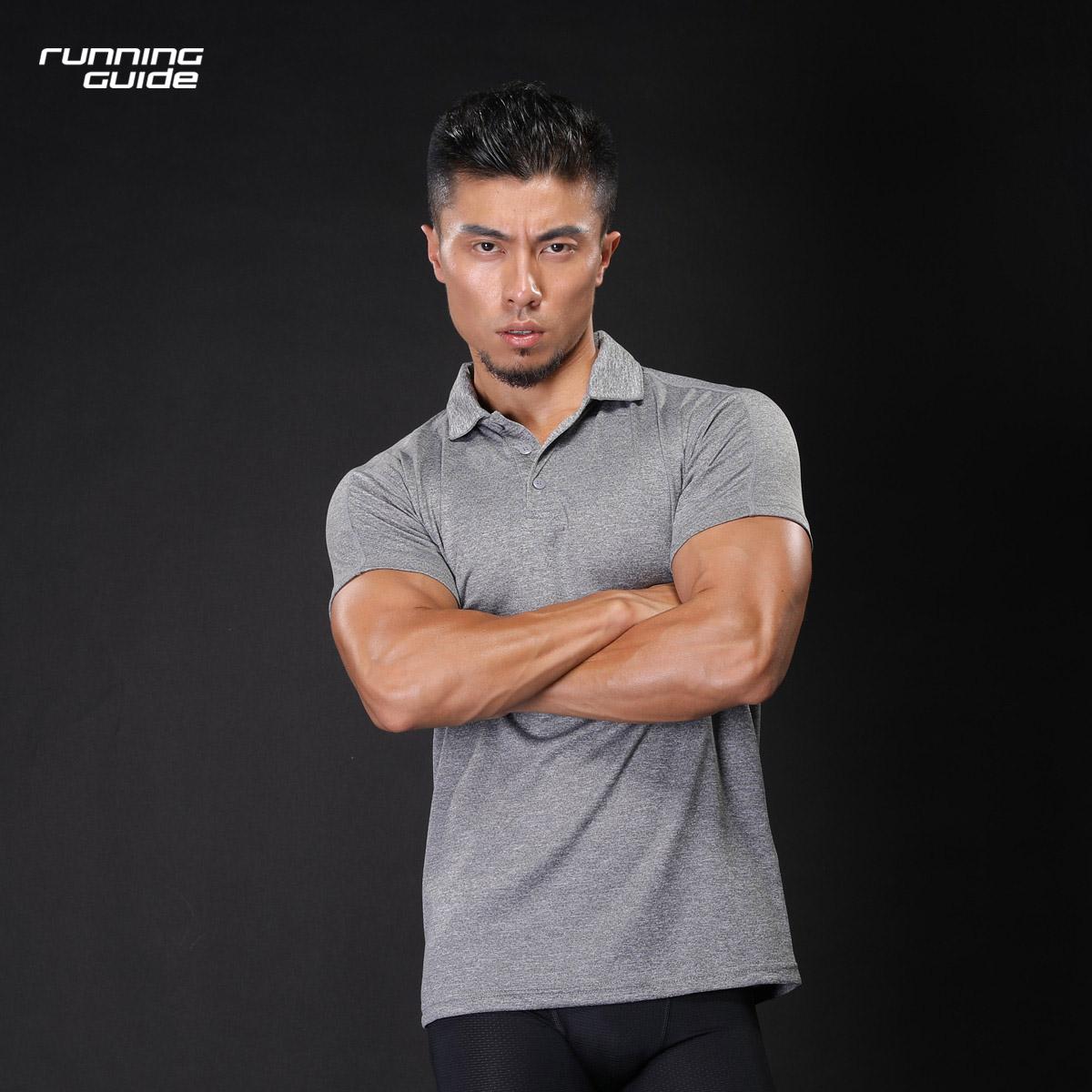 跑步指南 3632新品男款POLO衫短袖运动休闲修身显瘦速干透气针