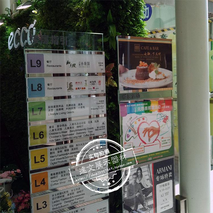 商场落地指示牌立牌立式钢化玻璃楼层指引导向牌楼亚克力层索引牌