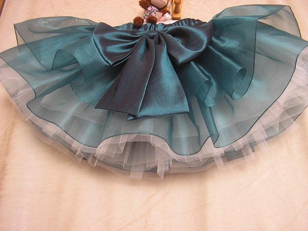 墨綠新款半身裙深紫p白色大小蝴蝶裝飾女童網紗蓬蓬裙短裙公主裙