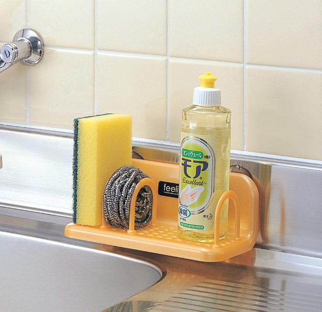 日本進口家用無痕吸盤瀝水置物架廚房水槽海綿架清潔海綿收納架子