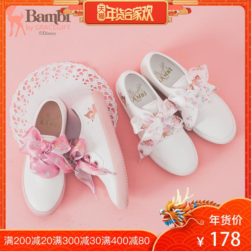 Grace gift迪士尼斑比可愛小白鞋女繫帶少女心單鞋舒適平底鞋女鞋