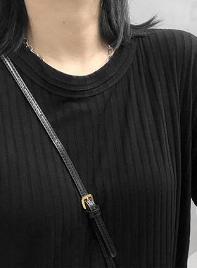 布町Studio 及踝长袖连衣裙极简新款黑色坑条圆领超长款t恤女港风