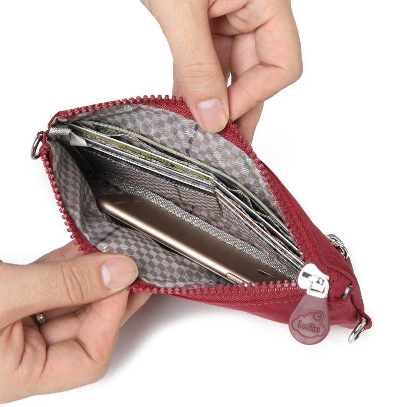迷你斜挎小布包女轻盈零钱包防泼水长款钱包护照包手拎大屏手机包