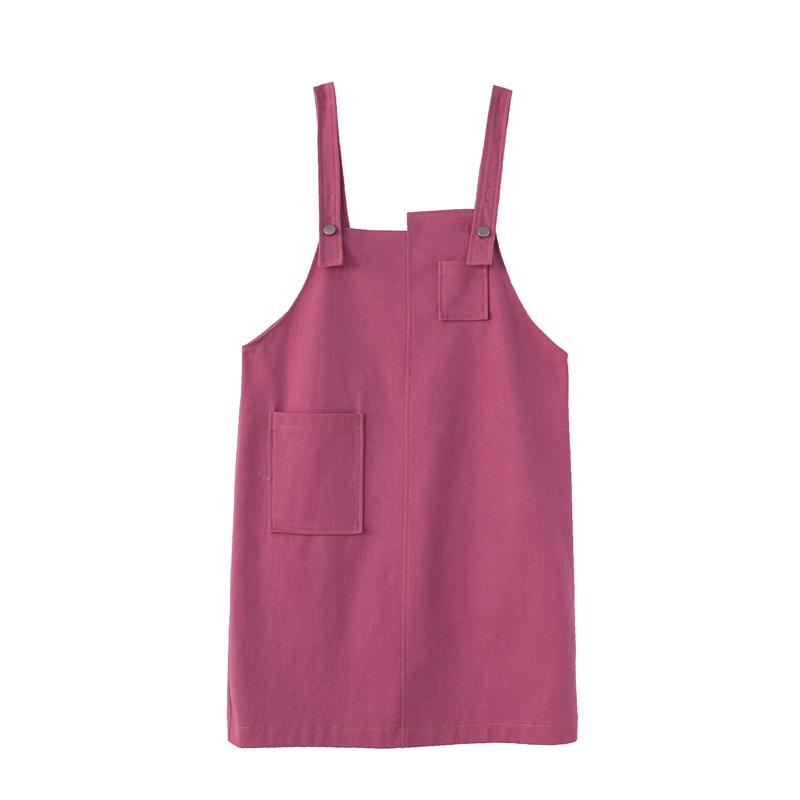 2019春装新款流行裙子复古连衣裙女玫红色牛仔背带裙宽松a字裙