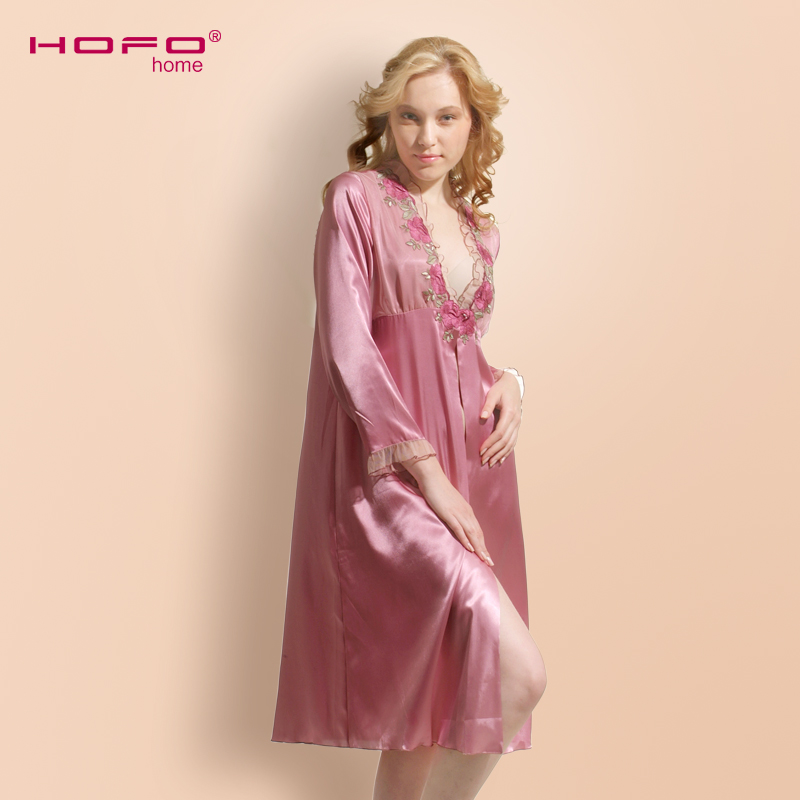 Buy Hofo spring and summer silk nightgown ms. silk robe embroidered lace  deep mei long sleeve silk robe leisure in Cheap Price on m.alibaba.com 43c9f7cd2