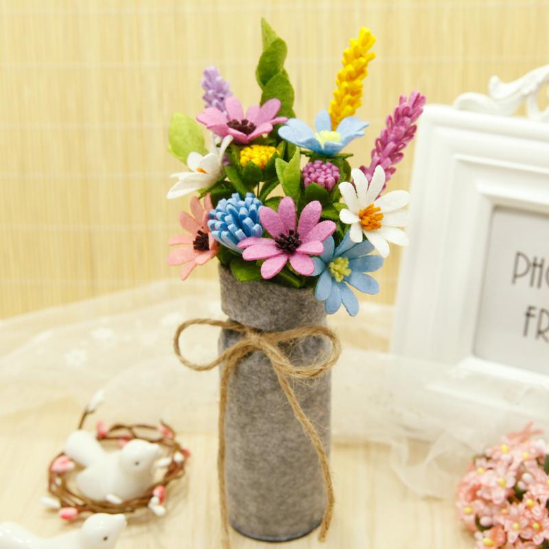 客厅餐厅装饰花艺摆件仿真花束不织布手工diy制作材料包亲子礼物