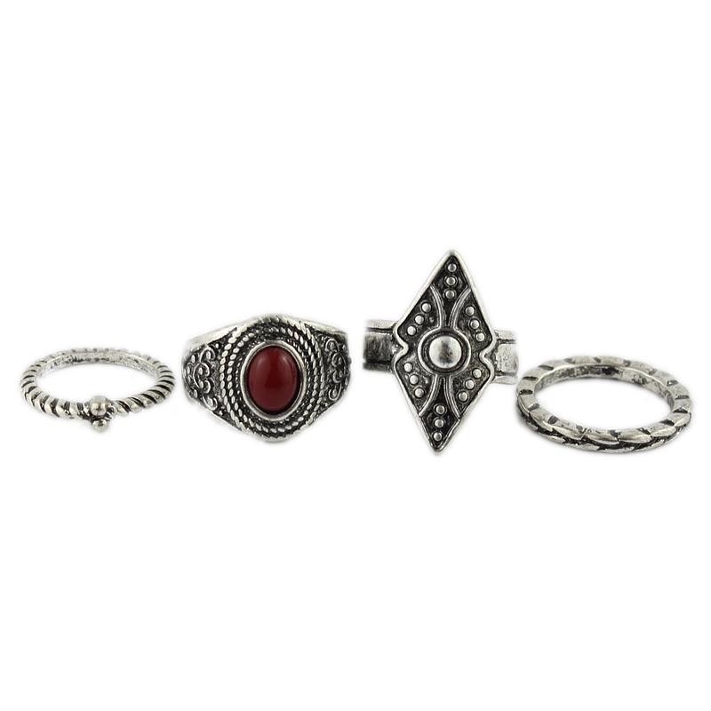 LM 个 4 卡 1 饰界饰品特价宫廷复古珠戒指古银色合金指环潮流新款配饰