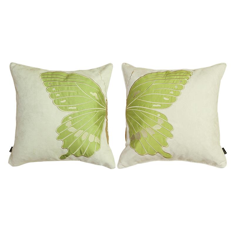 绿蝴蝶抱枕靠垫美式中式家用沙发抱枕欧式客厅餐椅床头靠枕含芯