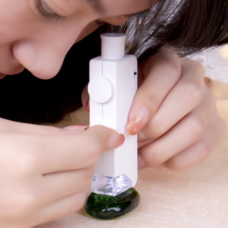 袖珍放大镜显微镜200倍带灯LED白光便携古玩文玩翡翠玉石鉴定工具