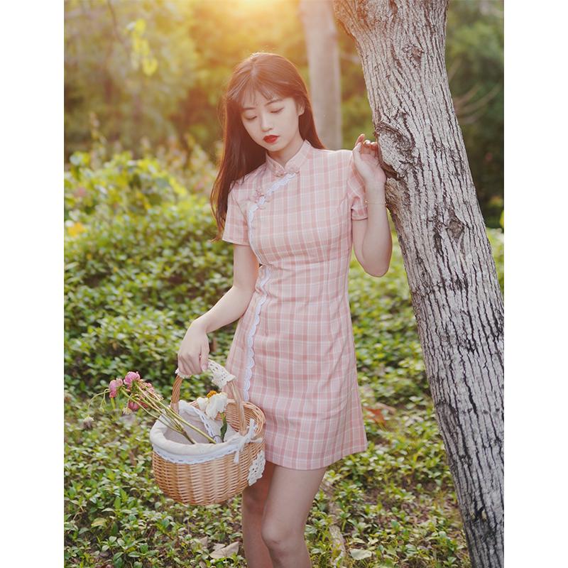 旧时光 time 日常改良短款格子旗袍年轻款少女小个子连衣裙学生夏【图2】
