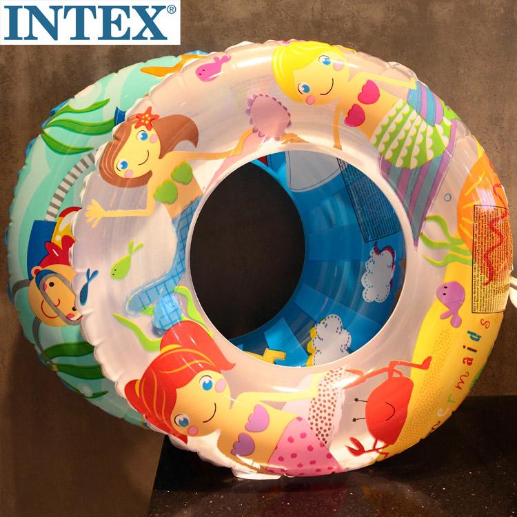 正品INTEX兒童游泳圈男童女童腋下圈卡通圖案充氣救生圈直徑60cm
