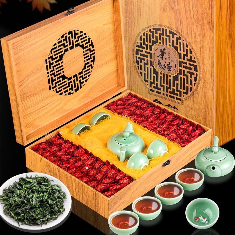 金御芳安溪兰香铁观音茶叶礼盒装500g木礼盒送礼品茶具套装或简