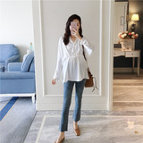 AROOM maternity dress early autumn white long-sleeved shirt loose casual shirt pregnant mother wear clothes tide mom
