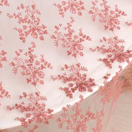 网纱布料刺绣软纱蕾丝面料婚纱旗袍服装裙装布料背景布豆沙红