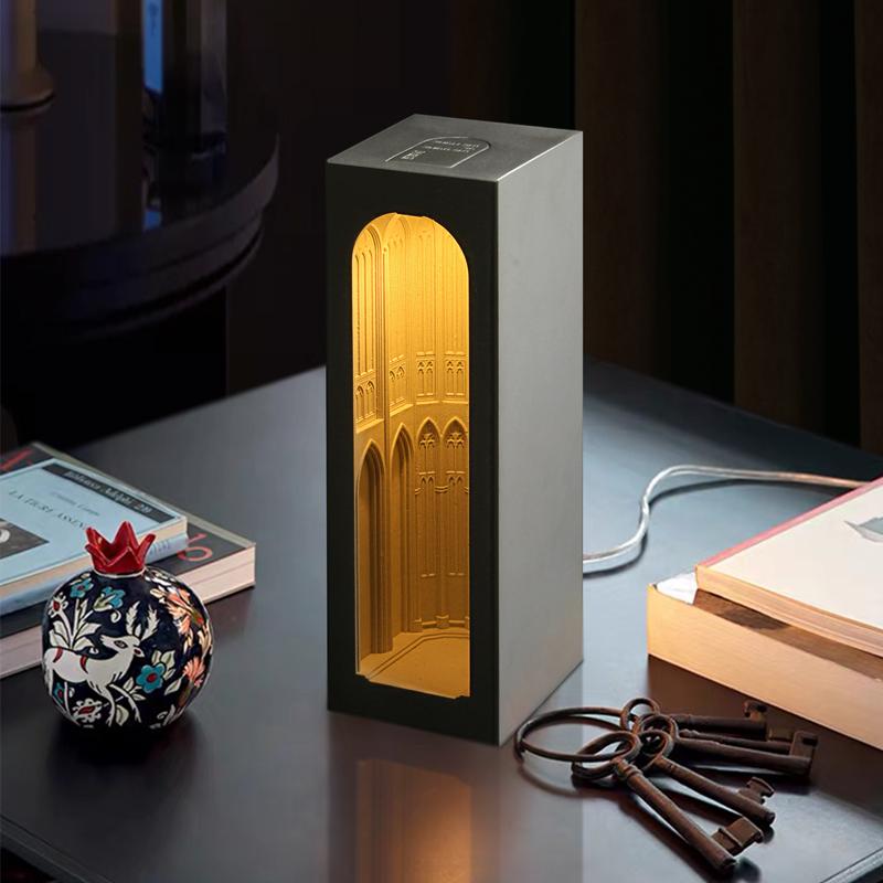 泥想国原创建筑夜灯混凝土设计师台灯桌面北欧水泥摆件创意床头灯