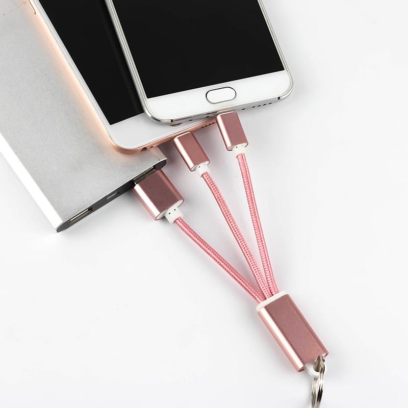佰通适用iphone安卓手机数据线二合一金属钥匙扣充电线定制LOGO