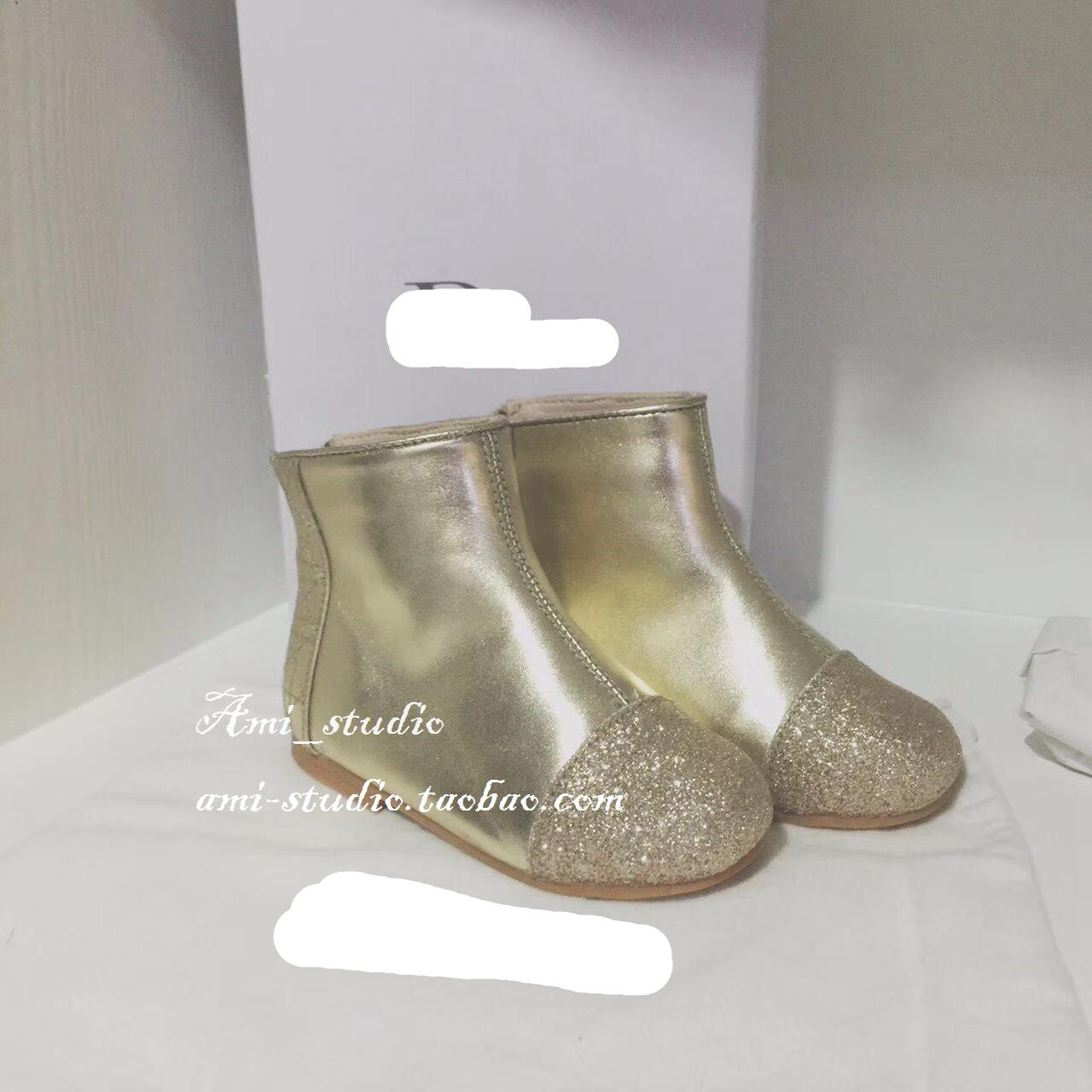 阿米定制儿童加绒金色短靴宝宝银色小羊皮女童靴子