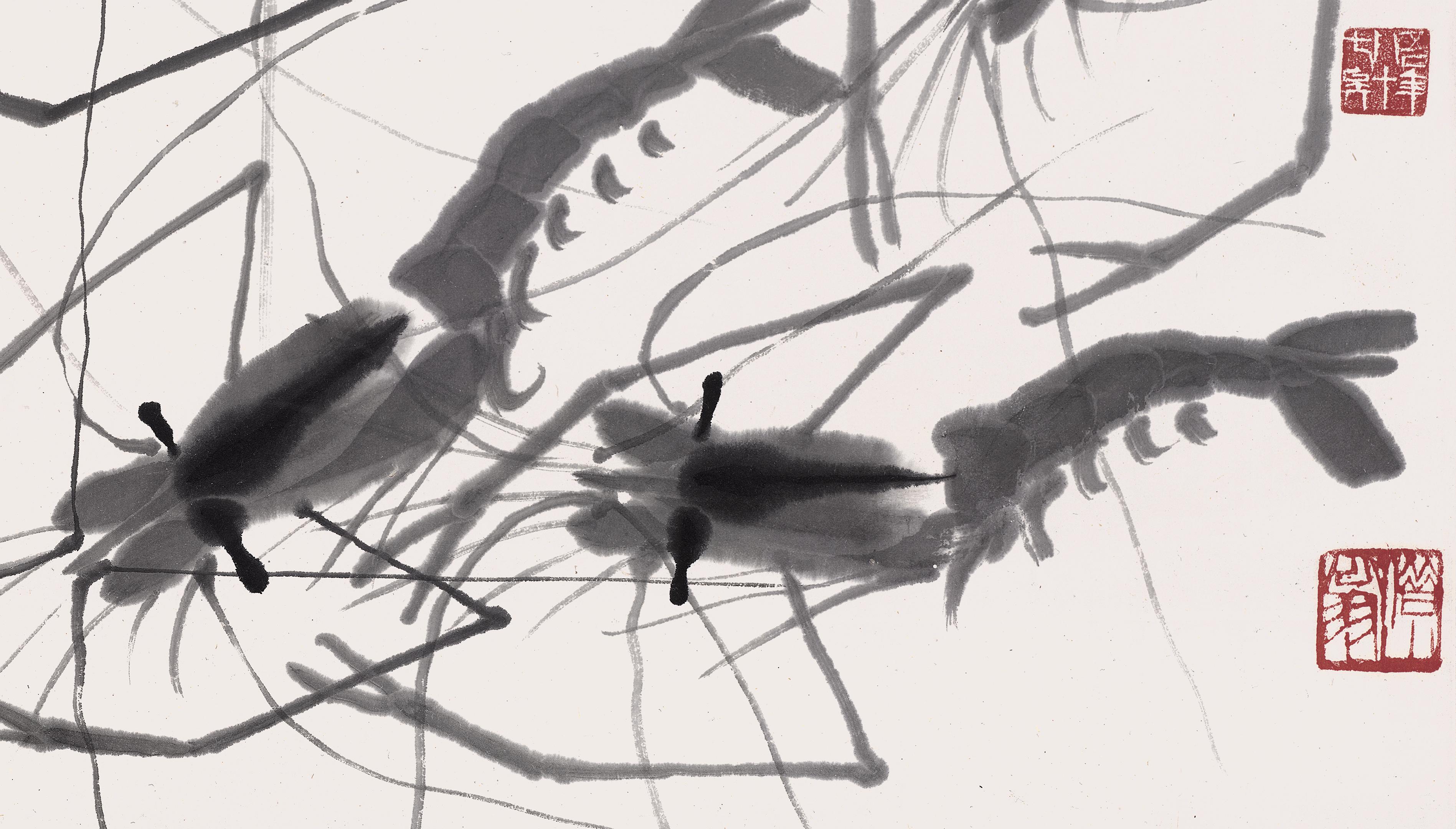包郵 齊白石裝飾畫 墨蝦 國畫真跡 畫集 畫冊全集 水墨畫動物玄關