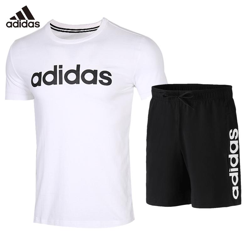 阿迪达斯套装男子 夏季速干透气运动短袖T恤两件套短裤跑步运动服